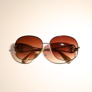 Guess aviator sunglasses golden lace rim brown